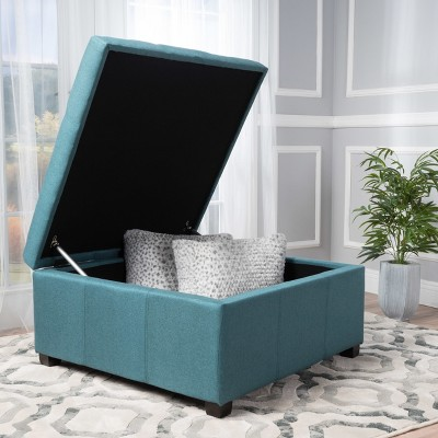 Carlsbad Storage Ottoman Dark Teal   Christopher Knight Home
