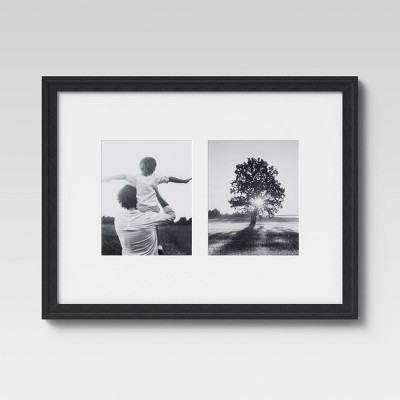 """18 x 24 Matted to 8"""" x 10"""" Gallery Offset Picture Frame Black  - Threshold™"""