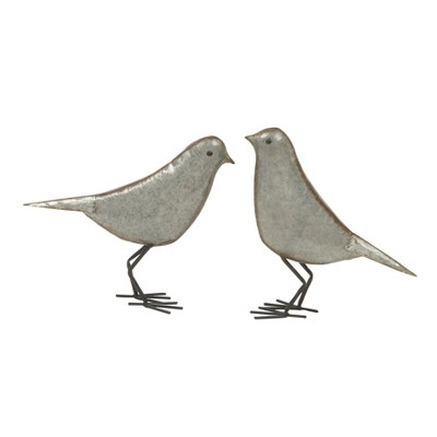 Farmhouse Rustic Iron Bird Sculpture Gray/Rust 2pk - Olivia & May