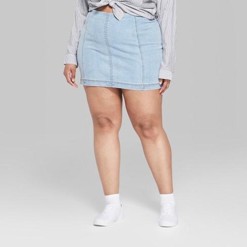 1464d3a12b Women's Plus Size Paneled Denim Mini Skirt - Wild Fable™ Blue : Target