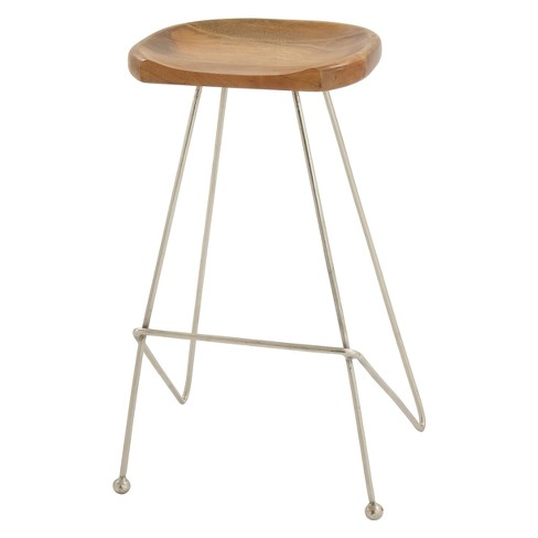 Astounding Wood And Metal Bar Stool With Ball Front Legs Gray Olivia May Bralicious Painted Fabric Chair Ideas Braliciousco