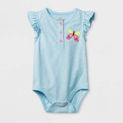 Baby Girls' Butterfly Bodysuit - Cat & Jack™ Aqua 3-6M