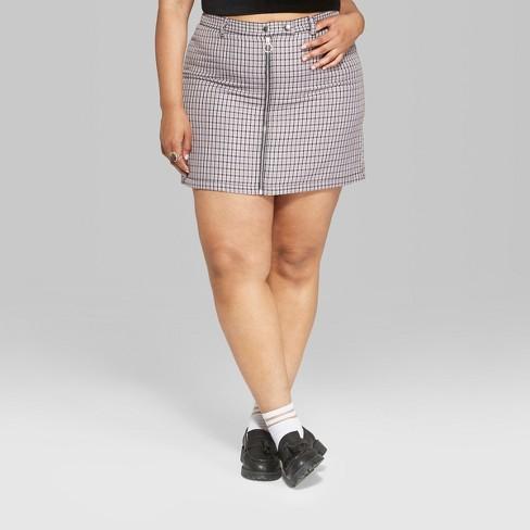 3d42527276 Women's Plus Size Plaid Mini Skirt With Zippers - Wild Fable™ Violet ...