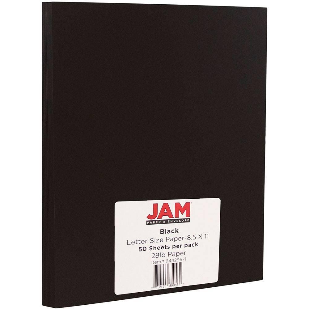 Jam Paper Basis 28lb Paper 8 5 34 X 11 34 50pk Black Smooth