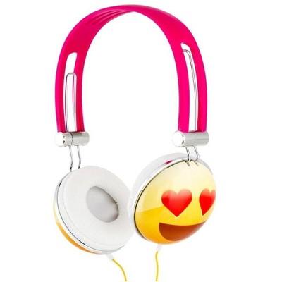 Nerd Block Emoji Overhead Stereo Headphones, Heart Eyes