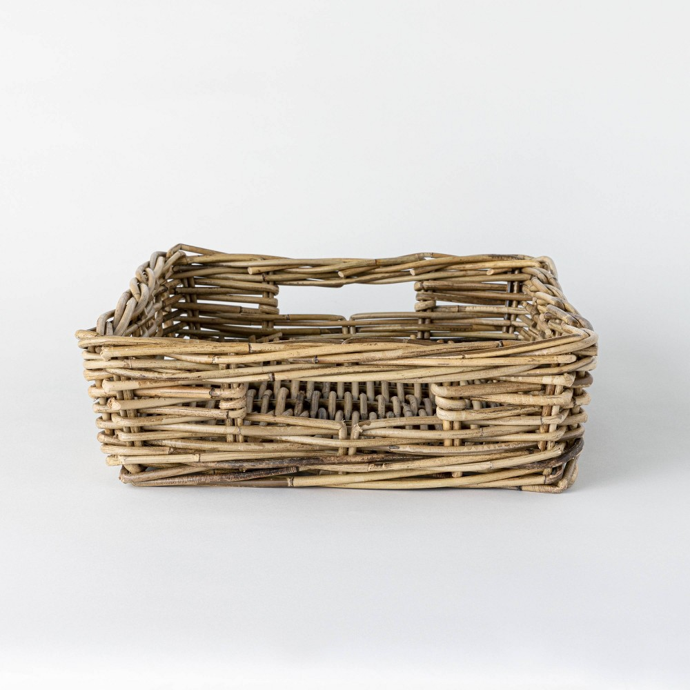 "Image of ""17"""" x 5.5"""" Decorative Rattan Tray with Handles Gray - Threshold designed with Studio McGee"""