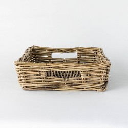 "17"" x 5.5"" Decorative Rattan Tray with Handles Gray - Threshold™ designed with Studio McGee"