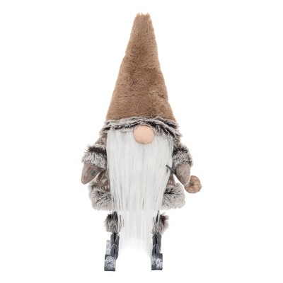 Gallerie II Taupe Gnome on Skis Christmas Holiday Xmas Soft Figure Decor Decoration