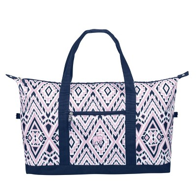 Ivory Ella Weekender Bag - Pink/Blue Diamond Mosaic