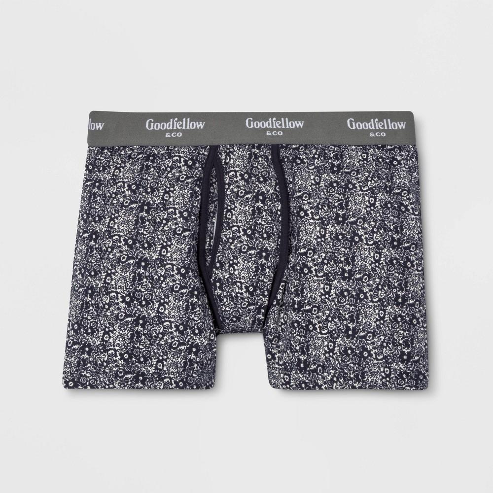 Men's Floral Print Knit Boxer Briefs - Goodfellow & Co Federal Blue S
