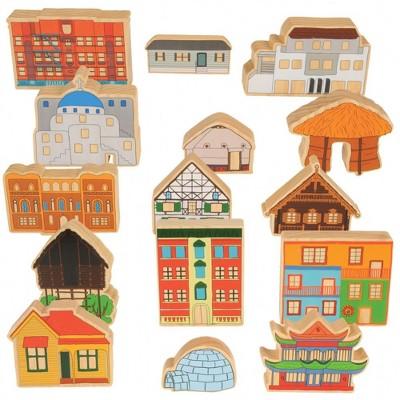 Trenak Trading Homes Around the World Wooden Blocks  - Set of 15