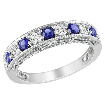 Silver 4/5ct Created Sapphire and Created White Sapphire Ring
