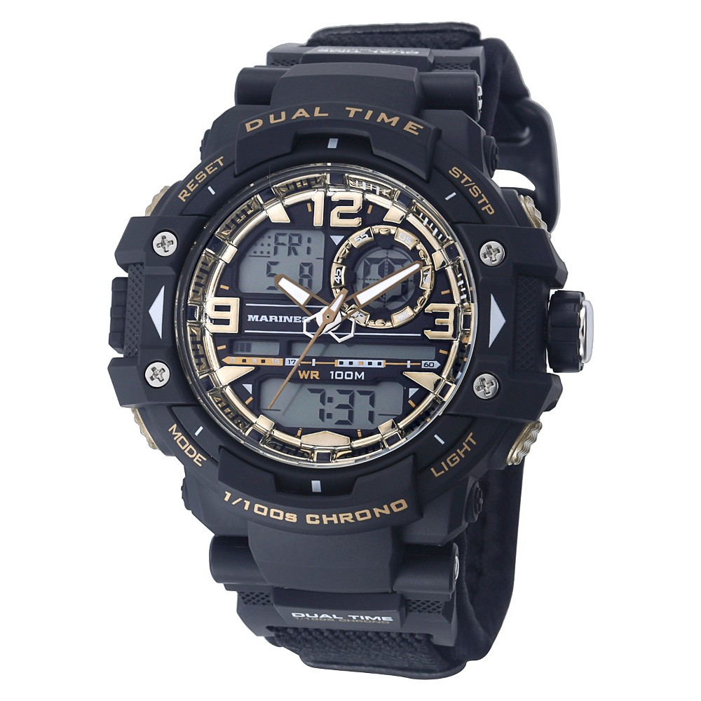Men's U.S. Army C41 Multifunction Watch By Wrist Armor-Black And Gold Dial - Black Nylon Strap, Size: Small