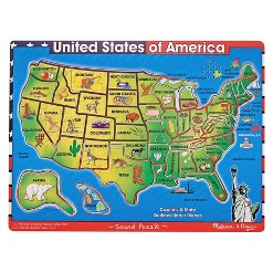 Melissa & Doug USA Map Sound Puzzle - Wooden Peg Puzzle With Sound Effects (40pc)
