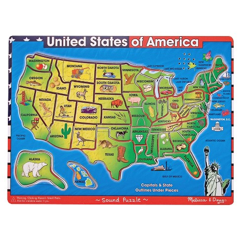 Melissa Doug Usa Map Sound Puzzle Wooden Peg With Effects 40pc Target