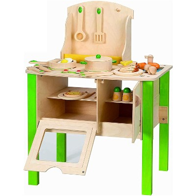 Hape My Creative Cookery Club Kid's Wooden Kitchen Chef Role Play Playset with Cooking Accessories, Utensils, and Food Kit, for Ages 3 Years and Up