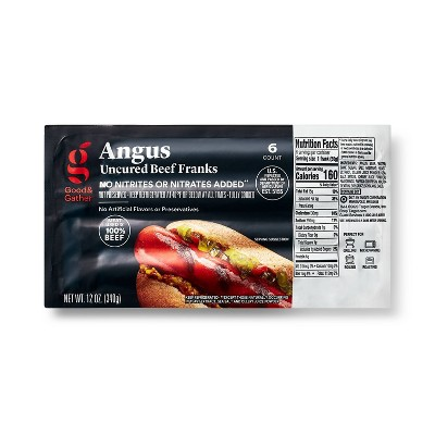 Uncured Angus Beef Franks - 12oz/6ct - Good & Gather™