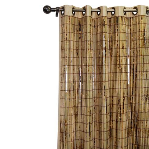 Curtain Panel Bamboo Grommet Tan 42 X63