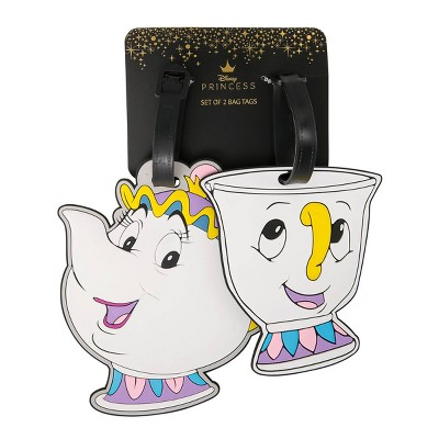 Disney Beauty and the Beast Mrs. Potts & Chip Rubber Luggage Tag Set