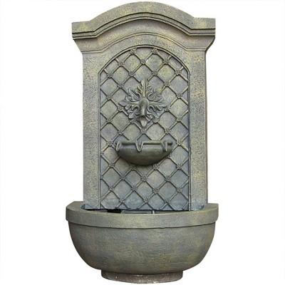"Sunnydaze 31""H Electric Polystone Rosette Leaf Outdoor Wall-Mount Water Fountain, Limestone Finish"