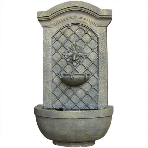 "31""H Rosette Leaf Outdoor Electric Wall Fountain - Limestone Finish - Sunnydaze Decor - image 1 of 4"