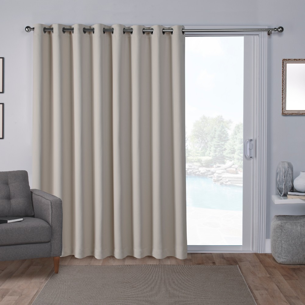 "Image of ""100""""x84"""" Sateen Blackout Wide Patio Grommet Top Single Curtain Panel Linen - Exclusive Home"""