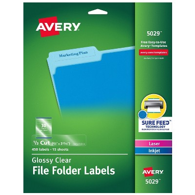 """Avery Laser/Inkjet File Folder Labels 2/3"""" x 3 7/16"""" Clear 30/Sheet 500623"""
