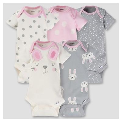 Baby Girls' 5pk Onesies® Bodysuit - Bunny Pink Baby - Gerber®