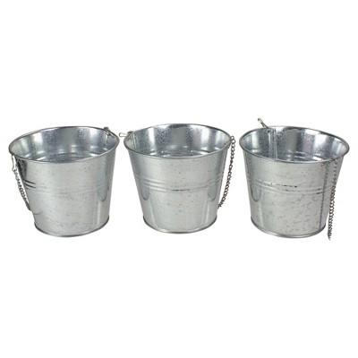 Northlight Set of 3 Round  Metal Bucket Hanging Planters