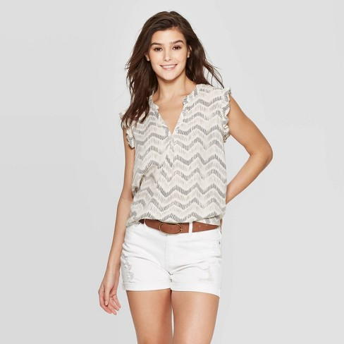 Image result for Women's Sleeveless V-Neck Ruffle Detail Blouse Universal Thread™ Black
