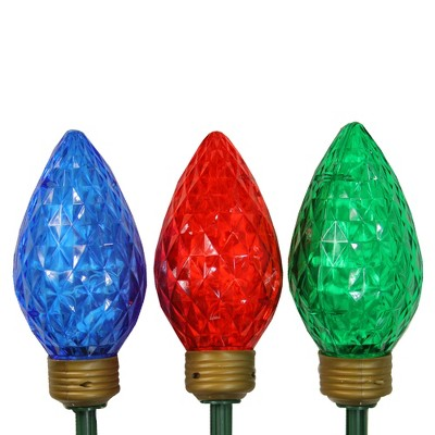 Northlight 3ct Multi-Color LED Jumbo C9 Bulb Christmas Pathway Marker Lawn Stakes - 3 ft White Wire