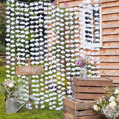 Floral Backdrop Decorative Party Accessory White