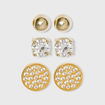 Plated Cubic Zirconia/Ball/Pave Disc Earring Set 3pc - Gold/Clear