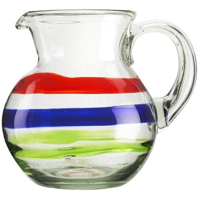 Amici Home Authentic Mexican Handmade Baja Pitcher Glass, 80oz