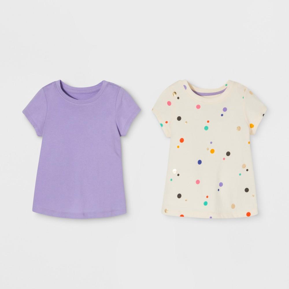 Toddler Girls' 2pk Short Sleeve T-Shirt Set - Cat & Jack Purple/Cream 3T, White