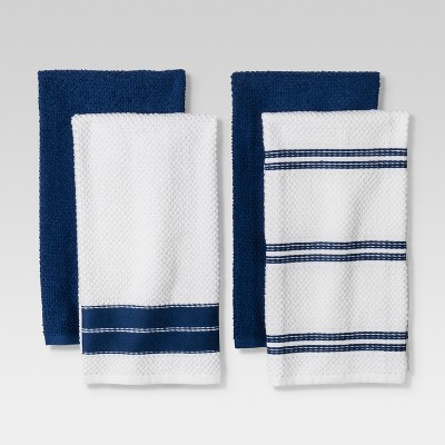 4pc Kitchen Towel Blue/White - Threshold™
