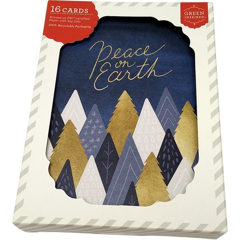 Green Inspired 16ct Holiday Boxed Cards Peaceful Trees Navy & Gold - image 1 of 2