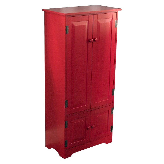 Tall Storage Cabinet Wood/Red - TMS - image 1 of 3