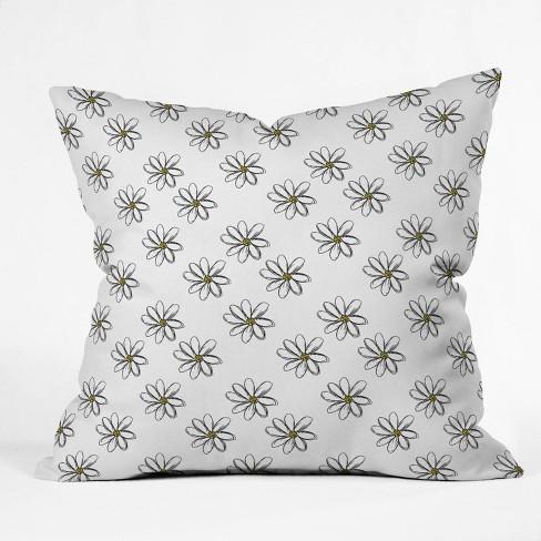 16 X16 Allyson Johnson 70s Daises Throw Pillow Black White Deny Designs Target