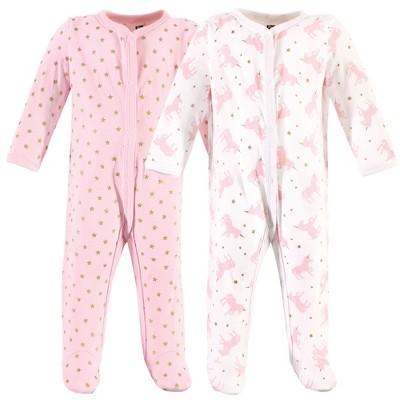 Hudson Baby Infant Girl Cotton Snap Sleep and Play 2pk, Sparkle Unicorn