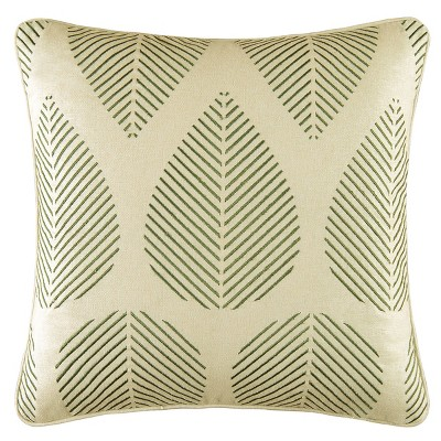 """C&F Home 18"""" x 18"""" Green Leaves Embroidered Pillow"""