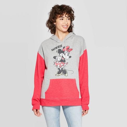 Women's Disney Minnie Mouse Hooded Sweatshirt (Juniors') - Gray/Red  - image 1 of 2