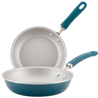 Rachael Ray Create Delicious 2pc Aluminum Nonstick Skillets Teal