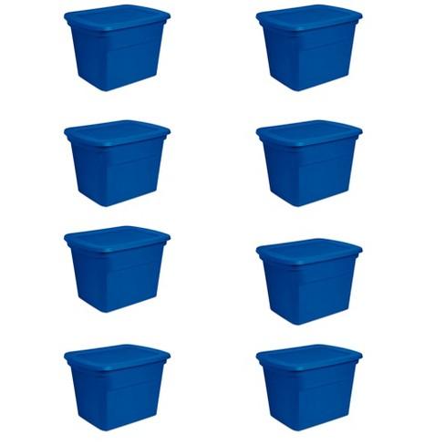 Sterilite 18 Gallon Plastic Stackable Storage Tote Container Box, Blue (8 Pack) - image 1 of 2