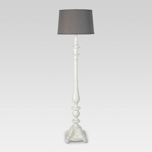 Turned Wood Double Socket Floor Lamp White  - Threshold™ - image 1 of 2