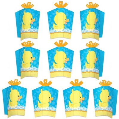 Big Dot of Happiness Ducky Duck - Table Decorations - Baby Shower or Birthday Party Fold and Flare Centerpieces - 10 Count