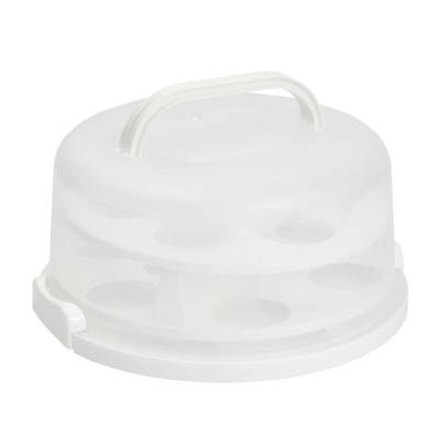 Juvale 2-In-1 Round Cake Carrier with Lid for 10-Inch Pies, 14 Cupcakes (12 x 5.9 In)