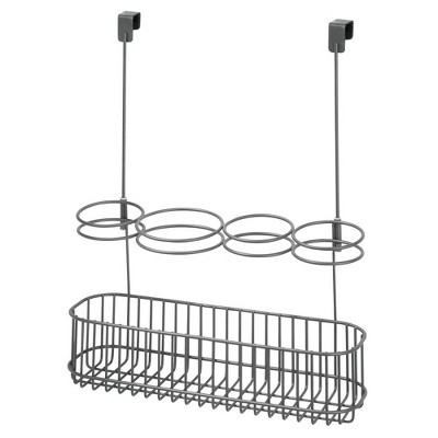 mDesign Over Door Hanging Hair Care Styling Tool Storage Basket, Large