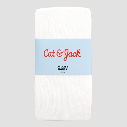 Girls' Cotton Tights - Cat & Jack™ White - image 1 of 2