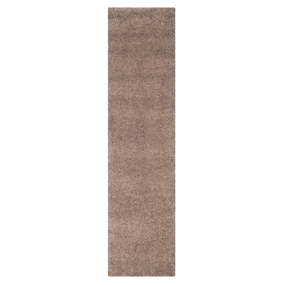 Taupe (Brown) Solid Loomed Runner 2'3X13' - Safavieh